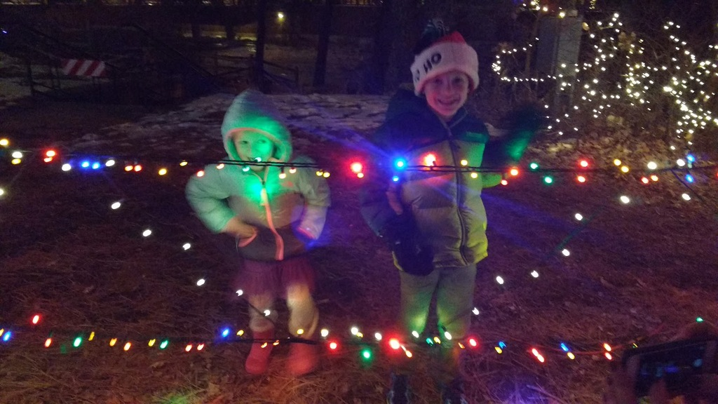 Kids on our Christmas Eve light walk.
