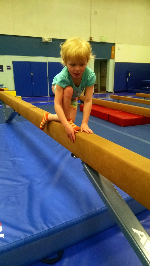 I've taken her to a drop-in gymnastics class a few times to see if she's actually interested.