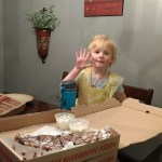 She got a free dessert pizza in honor of turning five. (Nutella pizza, so good!)