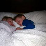 The kids snug as bugs at the Marriott.