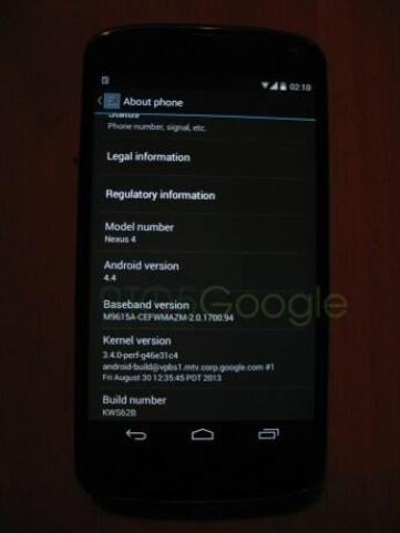 Android 4.4 About Screen