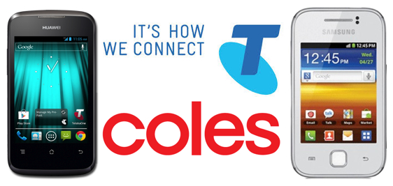 Coles Samsaung Galaxy Y and Huawei Y201 Telstra Pre Paid