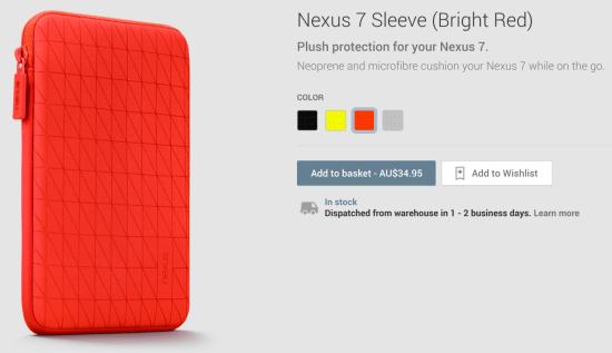 Nexus 7 Sleeve Red
