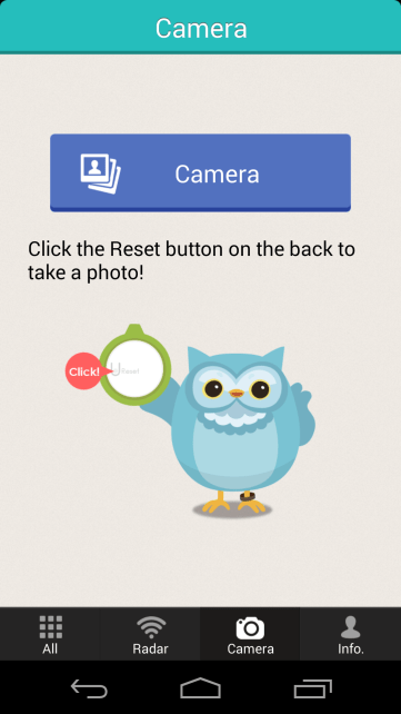You're supposed to be able to use the button on the TinyFinder to take a photo on your phone. In practice this doesn't work so well.