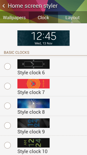 Watch face configuration in Gear Fit Manager