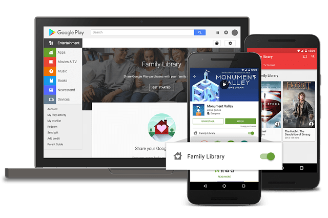 Google Officially Releases Family Library to the Play Store