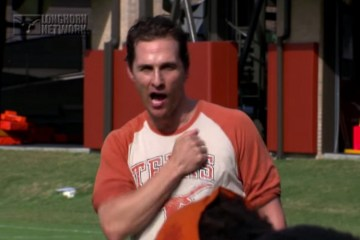 Matthew McConaughey leads the Longhorns in his famous 'Wolf of Wall Street' chant. Screenshot via YouTube.