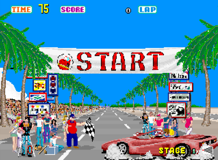 OutRun car racing game pinballz arcade old school