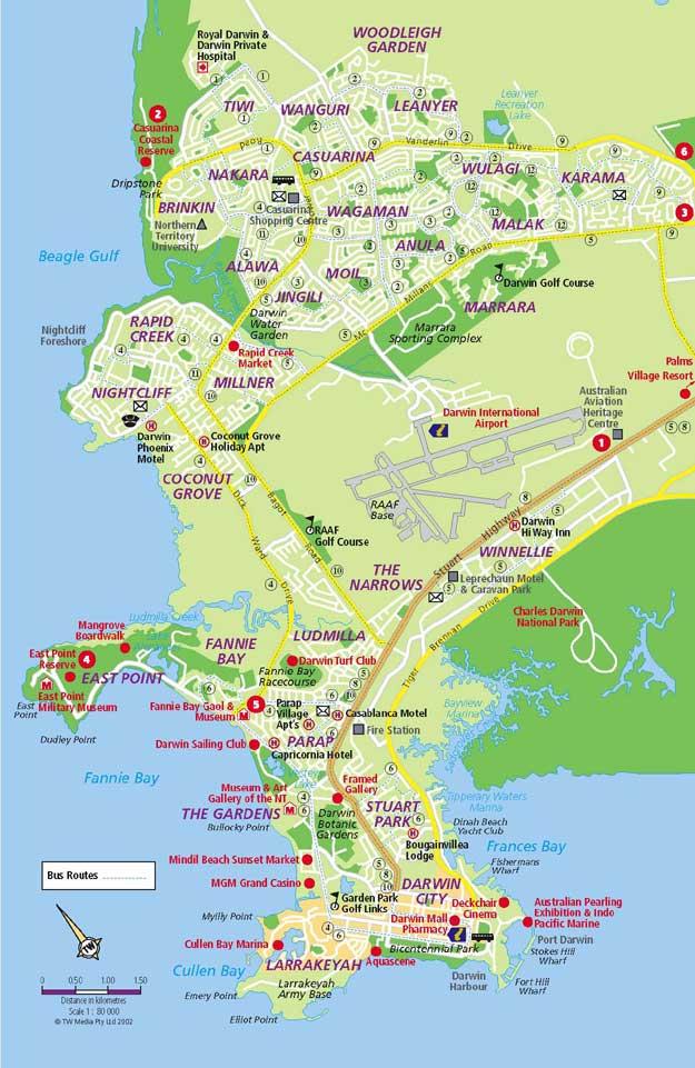 map darwin suburbs