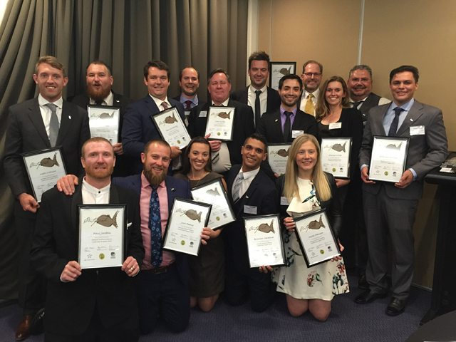 Australian National Seafood Industry Leadership Program graduates in smart dress with certificates
