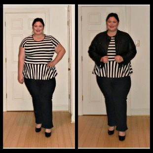 ASOS Curve Striped Peplum Top
