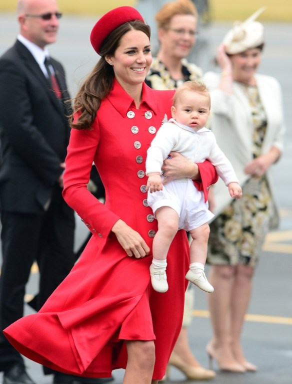 Catherine arrives at Wellington Airport in New Zeeland with Prince George in 2014.