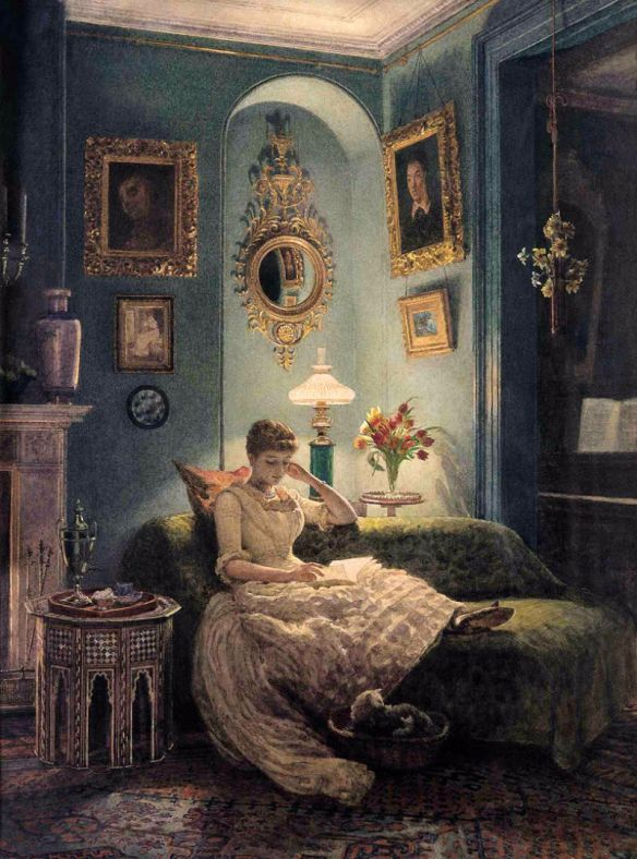 """An Evening at Home"" circa 1888, by Edward John Poynter (British, 1836-1919)."