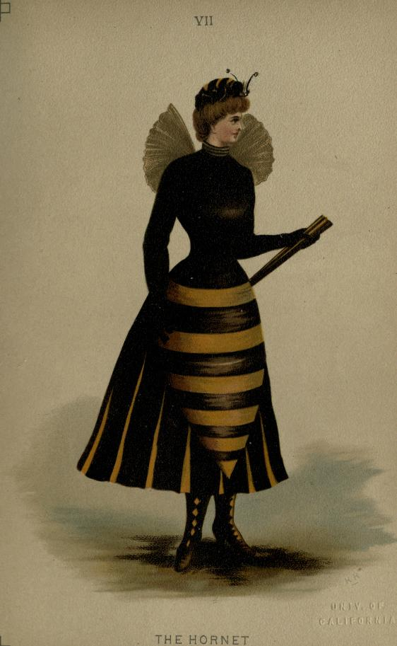 "Hornet Fancy Dress Costume Sketch from ""Fancy Dresses Described; or, What to Wear at Fancy Balls"" by Ardern Holt. Fifth Edition, Publication Date: 1887.  Publisher: Wyman & Sons London. / Source: Archive.org"