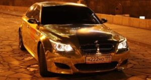 Gold coated BMW M5 from Moscow, Russia