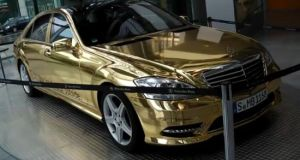 Gold wrapped Mercedes S500