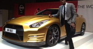 Usain Bolt Inspired gold plated Nissan GT-R  1