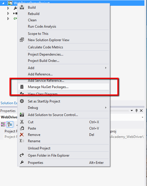 Open NuGet Manage Console