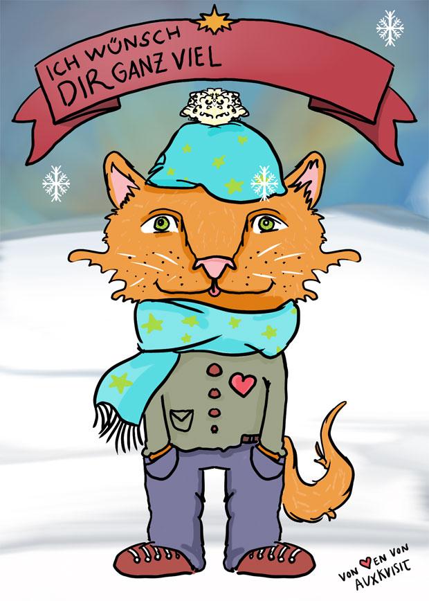 Winterkarte Gratis Download mit Fuchskatze