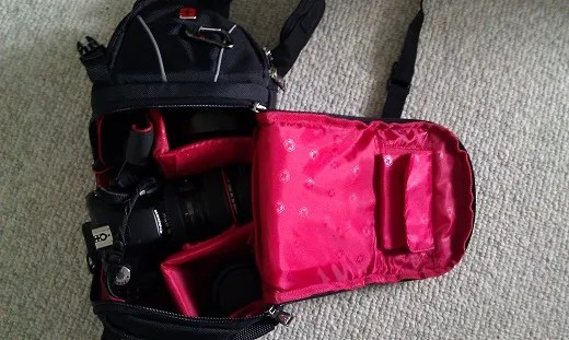Swissgear Sling with Canon T1i, 24-105mm f/4, and 50mm 1.4