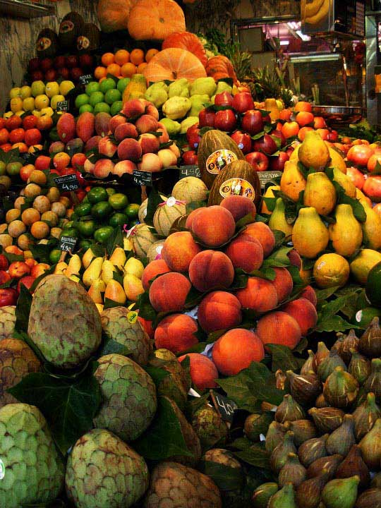 Mountain of Fruit at La Boqueria in Barcelona