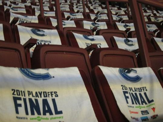 2011 Playoff Towels on Seats at Rogers Arena