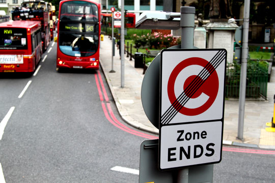 London Congestion Zone Ends Sign