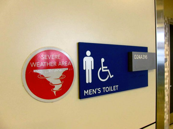 Dallas Ft Worth Severe Weather Mens Room Sign