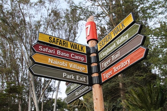 Direction Sign Post at San Diego Zoo Safari Park