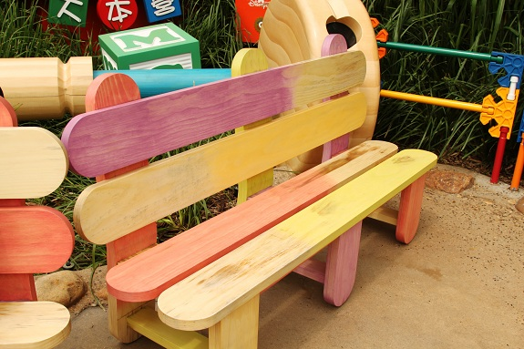 Toy Story Land Popsicle Stick Bench at Hong Kong Disneyland