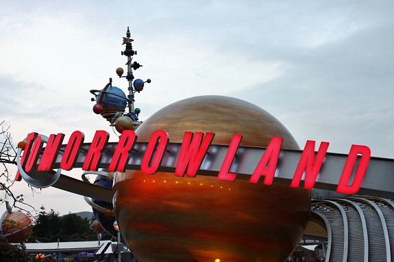 Tomorrowland Sign at Hong Kong Disneyland