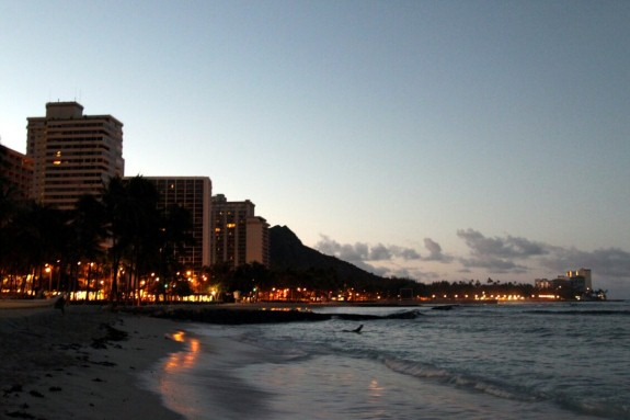 Lone Surfer at Daybreak at Waikiki