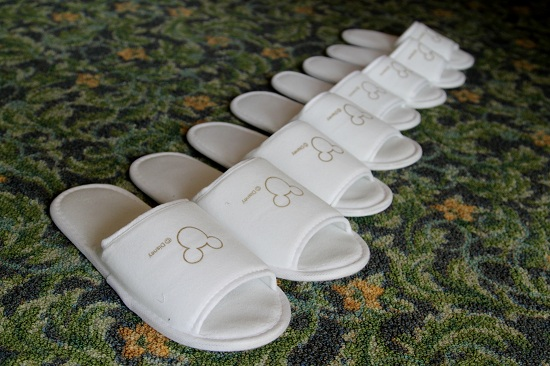 Free Slippers at Disneyland Hotel in Hong Kong