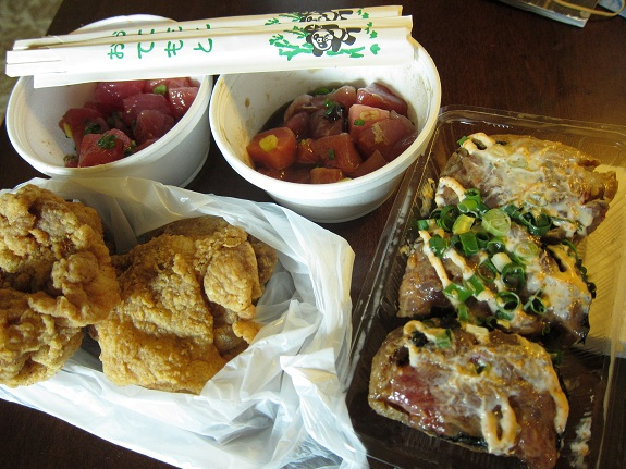 Poke, Chicken, and Inari from Taniokas Hawaii