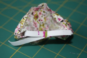 Sew ends together where the elastic is marked