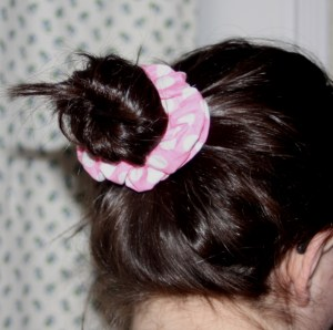 fabric covered ponytail holders tutorial on Avery Lane Blog