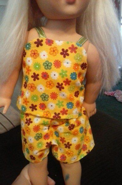 Annie D's doll is ready for her summertime sleepover in her cute new PJs that Annie made for her--super cute!!