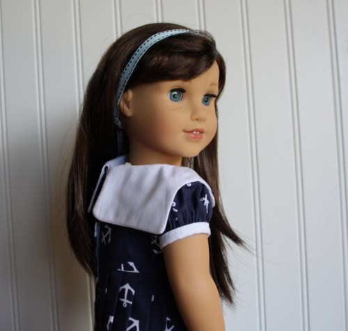 sailor dress from Doll Days Sewing Book for 18 inch Dolls Dear Stella Fabric free bonus pattern