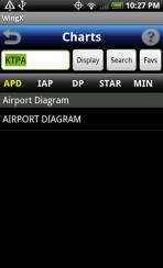 WingX Charts - Main airport screen