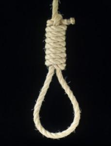 rope noose on black background