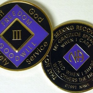 Narcotics Anonymous Purple and Black Medallion