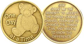 One Day At A Time Teddy Bear Bronze Medallion