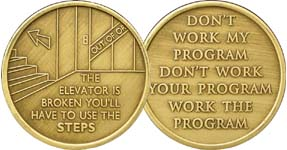 The Elevator is Broken You Must Use The Steps Bronze Medallion