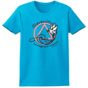 Serenity Courage and Wisdom Dove Aqua Tee Shirt