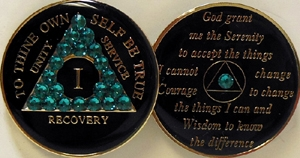 Alcoholics Anonymous Black with Zircon Blue Swarovski Crystals Medallion