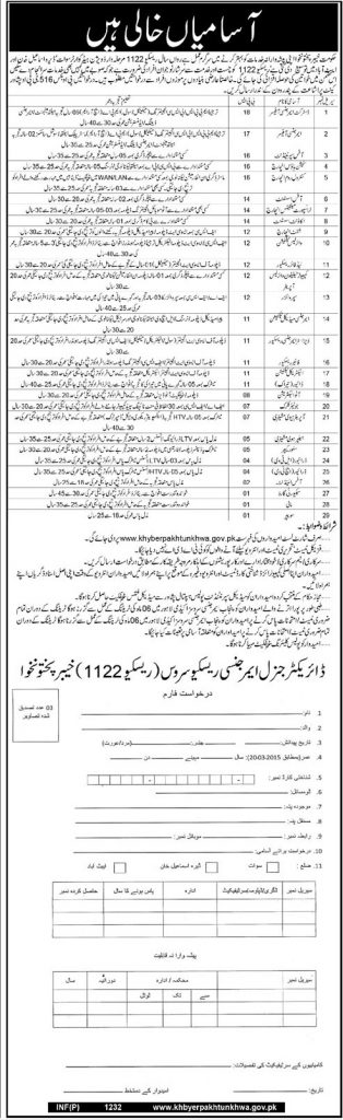 KPK Rescue 1122 Jobs 2015 Apply online