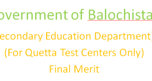 Government of Balochistan Secondary Education Department Final Merit