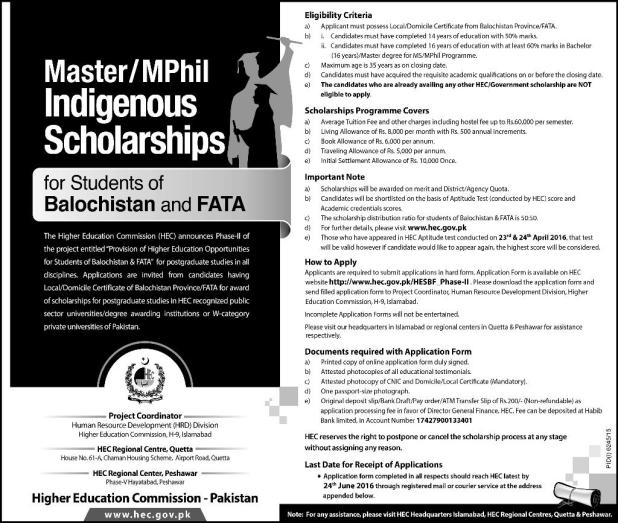 HEC indigenous Scholarships 2015-16 for M.Phil. &PhD