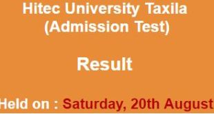 HITEC University Taxila Conduct Admission Test result
