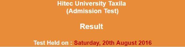 HITEC University Taxila Conduct Admission Test result